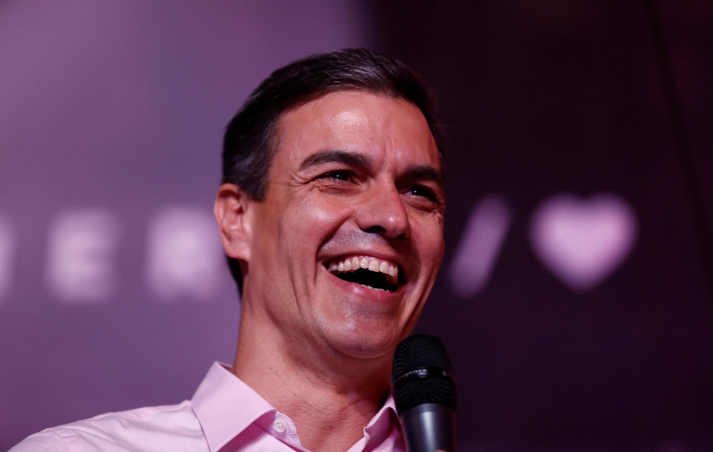 Pedro Sánchez  no dia 28 de Abril em Madrid, após a vitória dos socialistas nas  eleições gerais espanholas.