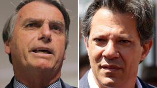 Fotomontagem mostra candidatos à presidência Jair Bolsonaro (PSL) em Brasilia e Fernando Haddad (PT) em Curitiba, 24 de setembro 2018