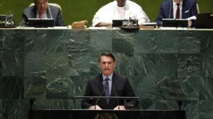 Le président brésilien Jair Bolsonaro, lors de son discours devant l'Assemblée générale des Nations unies, le 24 septembre 2019.