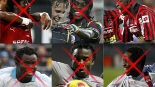 Gyan, Gervinho, Bamogo, Taiwo, Sessegnon et Makoun quitteront la L1 pour la CAN 2010 (de gauche à droite et de haut en bas).
