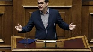 Greek Prime Minister Alexis Tsipras takes questions in parliament.
