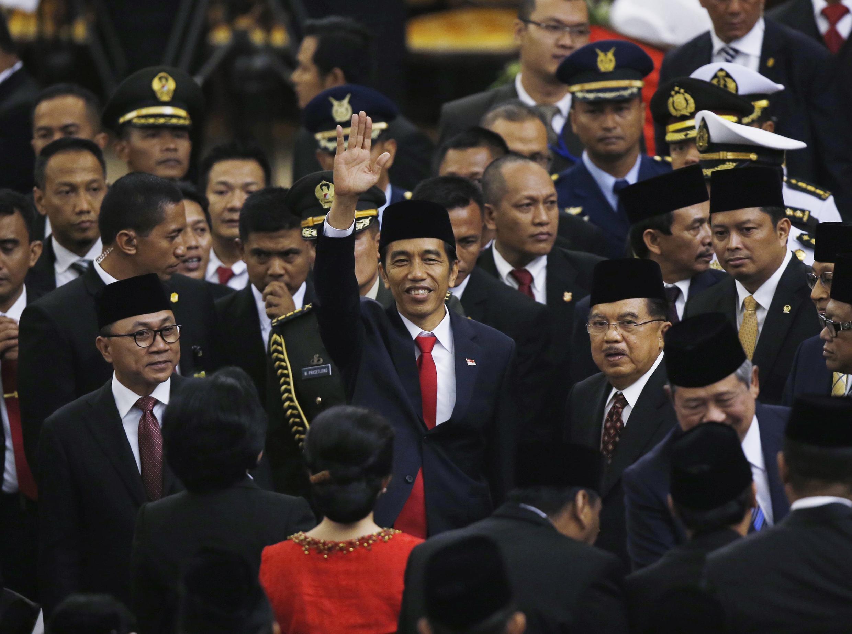 Tân tổng thống Indonesia, Joko Widodo, trong lễ tuyên thệ nhậm chức, ngày 20/10/2014 tại Jakarta.
