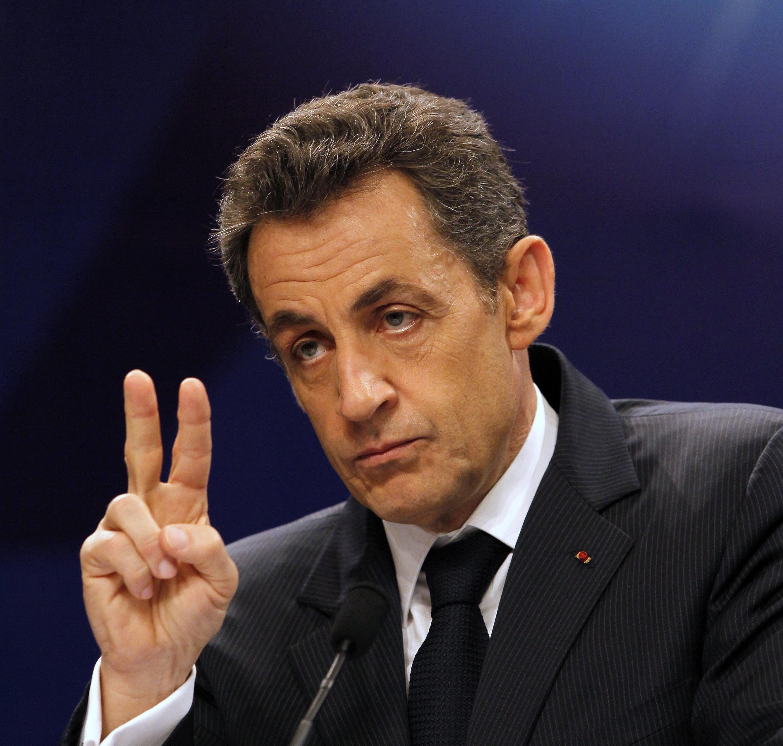 Президент Франции Николя Саркози на симпозиуме по реформе мировой валютной системы в Нанкине 31 марта 2011