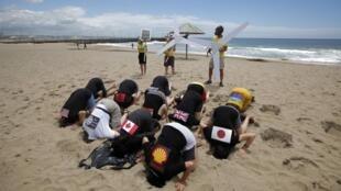 Durban (Nam Phi), ngày 3/11/2011, trong thời gian diễn ra Thượng đỉnh khí hậu (COP 17) : Các nhà hoạt động môi trường rúc đầu xuống cát - như một hành động biểu trưng cho sự thất bại - với áo có hình cờ, biểu tượng Ngân hàng Thế giới, tập đoàn Shell.