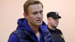 O opositor russo, Alexei Navalny, apresenta-se ao tribunal em Moscou em 24 de setembro de 2018.