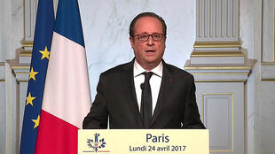 François Hollande atangaza kwamba atampigia kura Emmanuel Macron, Aprili 24, 2017.