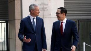 """""""برونو لومِر"""" وزیر اقتصاد و دارایی فرانسه به همراه همتای آمریکایی خود در حاشیه نشست گروه هفت"""