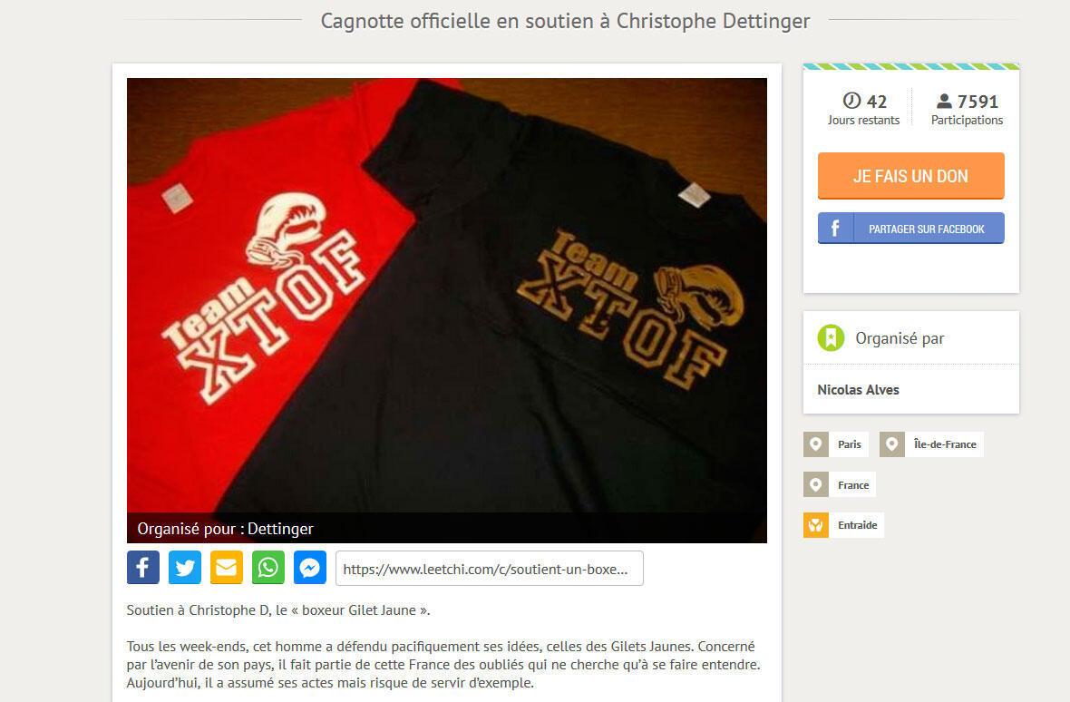 Uma página de apoio foi criada para Christophe Dettinger para arrecadar dinheiro.
