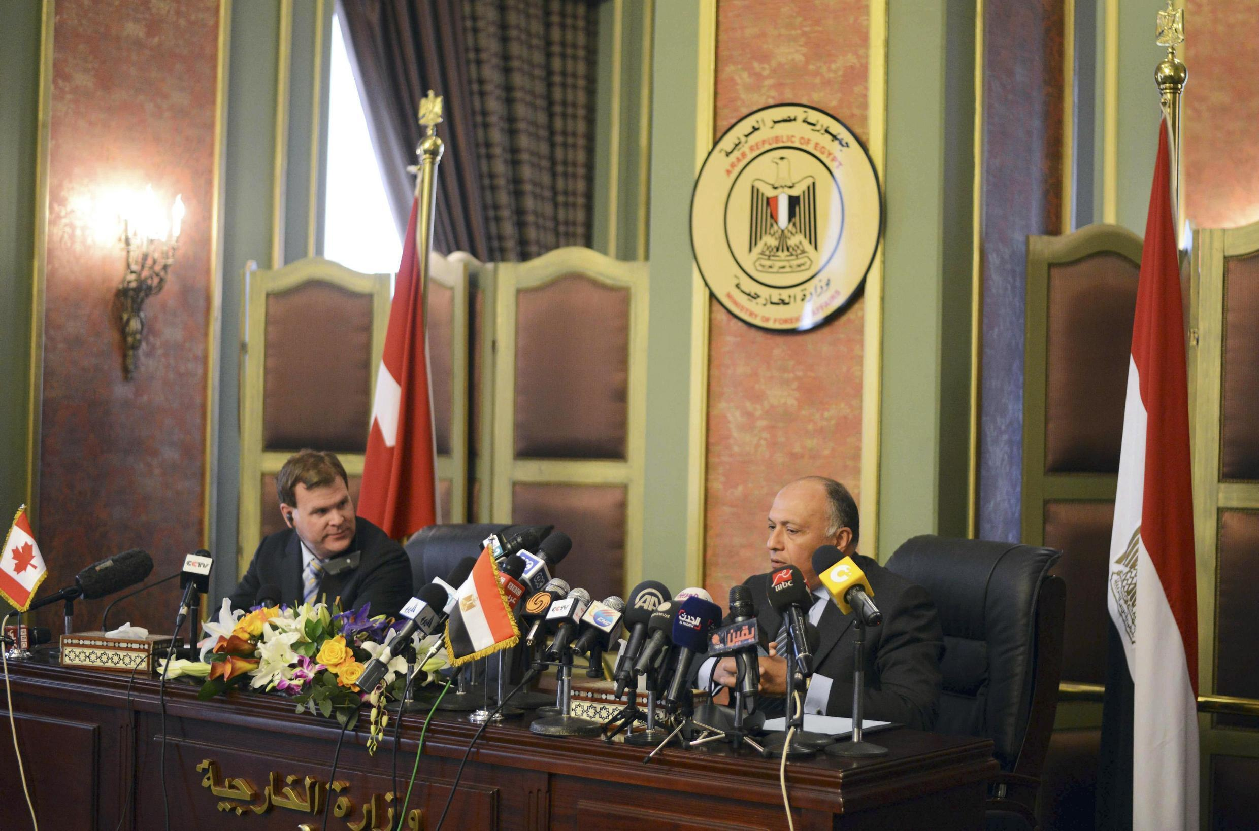 Canada's Minister of Foreign Affairs John Baird with Egypt's Foreign Minister Sameh Soukry  in Cairo, 15 January, 2015