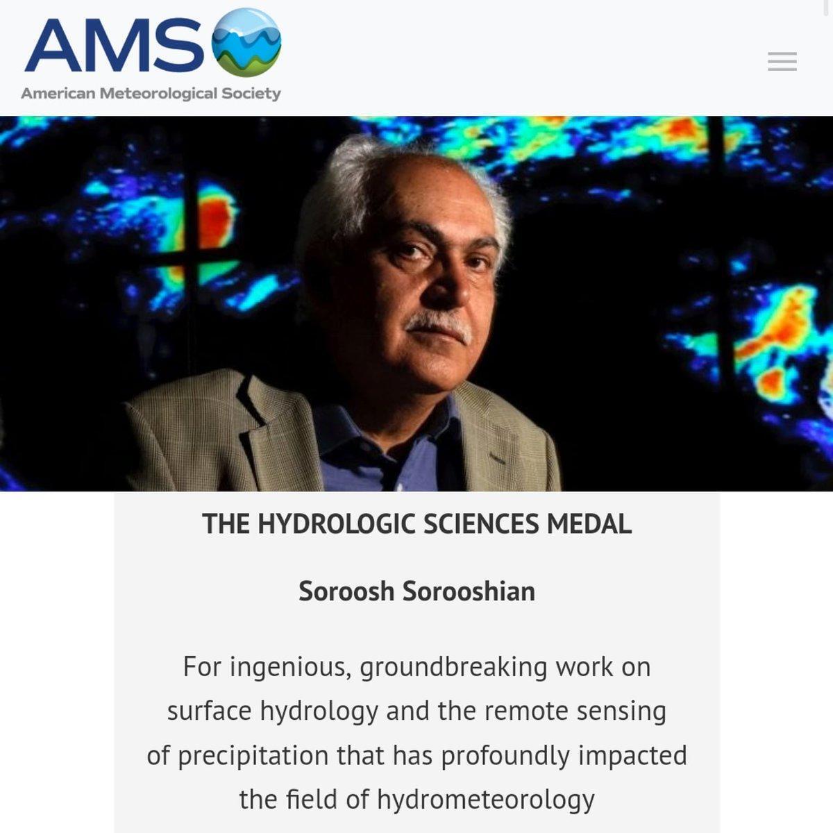 پرفسور سروش سروشیان، برنده مدال جامعه هواشناسی آمریکا