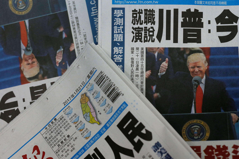 Ảnh minh họa : Donald Trump trên trang nhất nhật báo Đài Loan ngày 21/01/2017.