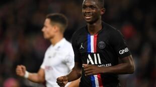 Tanguy Kouassi lors d'un match contre Montpellier, le 1er février 2020 au Parc des Princes à Paris