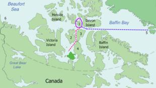 Bản đồ hành trình thám hiểm của John Franklin.