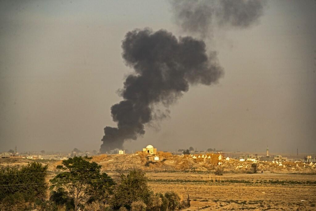 Smoke billows following Turkish bombardment on Syria's northeastern town of Ras al-Ain in the Hasakeh province along the Turkish border on 9 October, 2019.