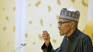 Muhammadu Buhari lors d'un discours après son retour de Londres (photo d'archives).