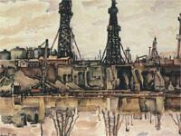 К.Ф.Богаевский, Нефтяные вышки в Баку (1932, фрагмент).