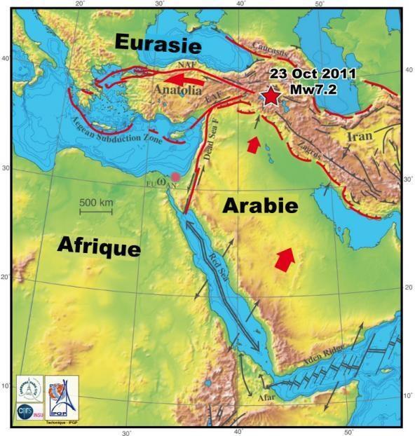 Carte des failles géologiques de la Turquie et du séisme d'octobre 2011.
