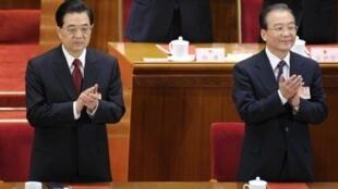 O presidente Hu Jintao e o primeiro-ministro Wen Jiabao durante o Congresso do Povo em 2011.