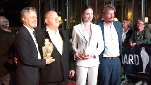 The award-winning team for The Keeper at the Dinard Film Festival: (L) Producer Robert Marcinak, actor John Henshaw, actress Freya Mavor and director Marcu Rosenmuller