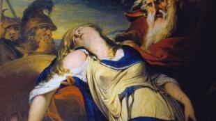 """"""" Le roi Lear pleurant sur le cadavre de Cordelia """"  (James Barry, 1774)"""