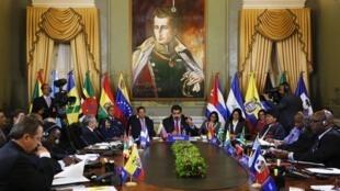 Tổng thống Venezuela Nicolas Maduro (G) phát biểu tại thượng đỉnh ALBA, Caracas, 17/03/2015