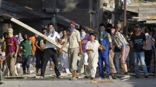 Protesters in Srinagar on Friday