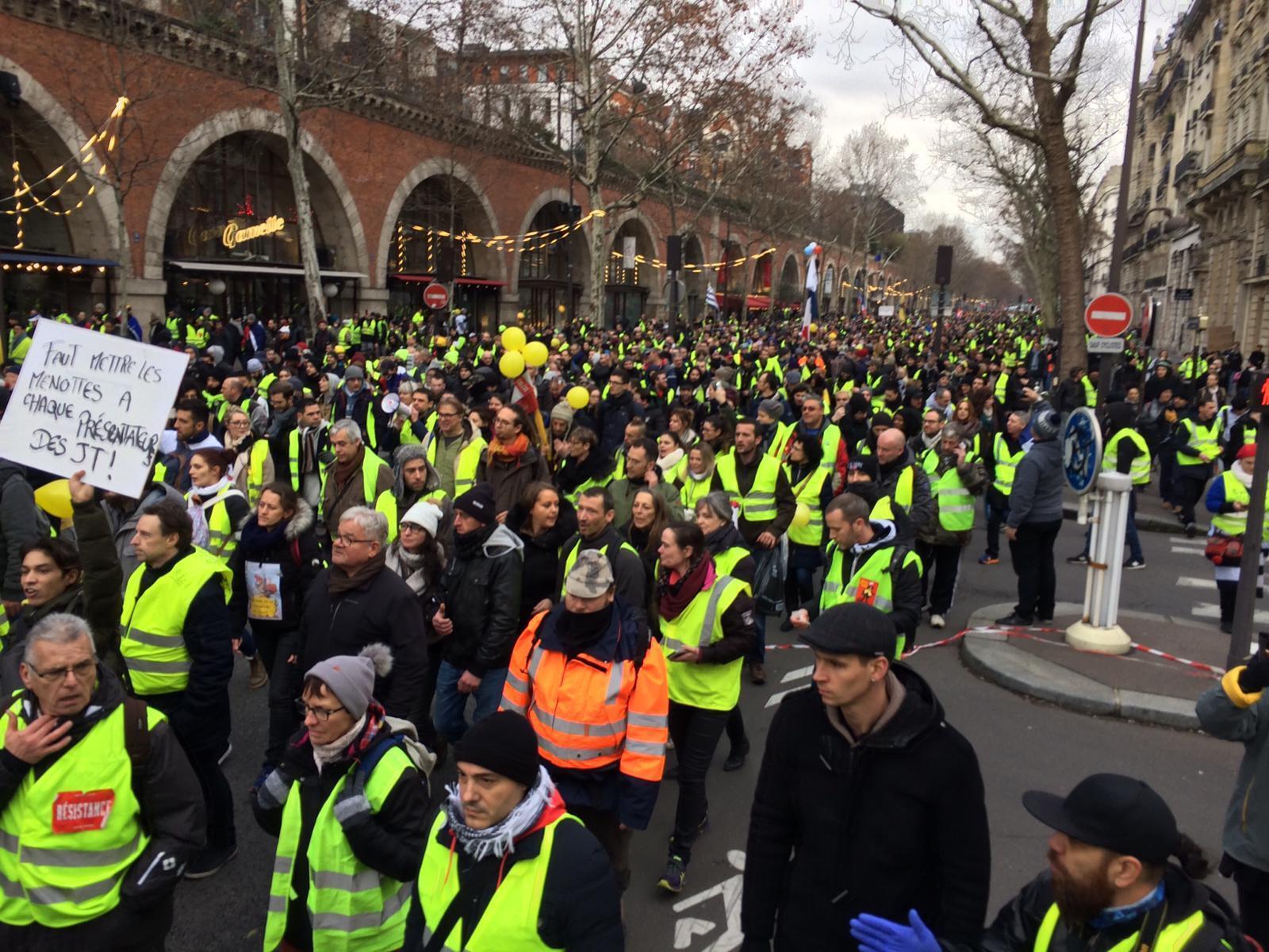 Le cortège des «gilets jaunes» arrive place de la Bastille, le 12 décembre 2019 (illustration).