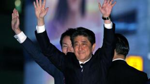 El primer ministro japonés Shinzo Abe durante la campaña, Tokio, 18 de octubre de 2017 à Tokyo.
