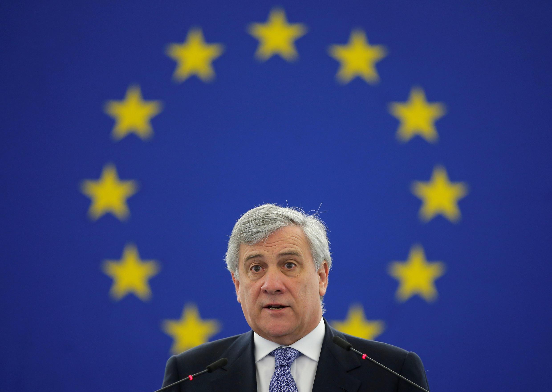 Antonio Tajani, président du Parlement européen, le 5 avril 2917 à Strasbour.