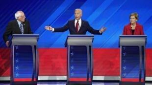 Bernie Senders (à esquerda), Joe Biden (centro) e Elizabeth Warren (à direita), principais candidatos às primárias democratas nos EUA.