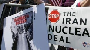 Manifestantes protestam contra o acordo nuclear com o Irã