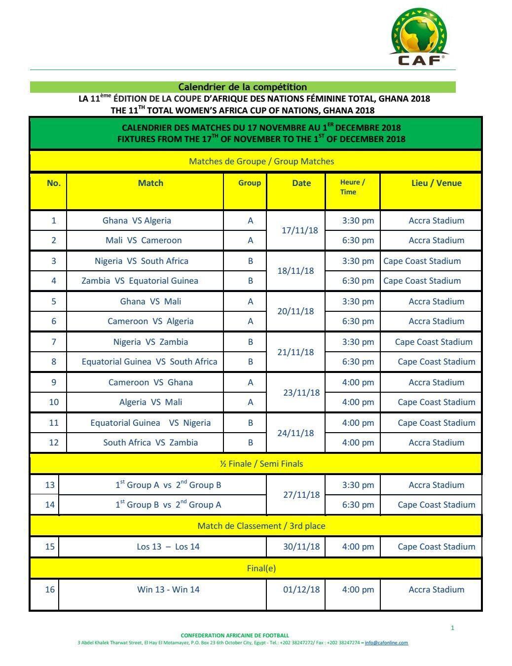 Le calendrier de la CAN féminine 2018.