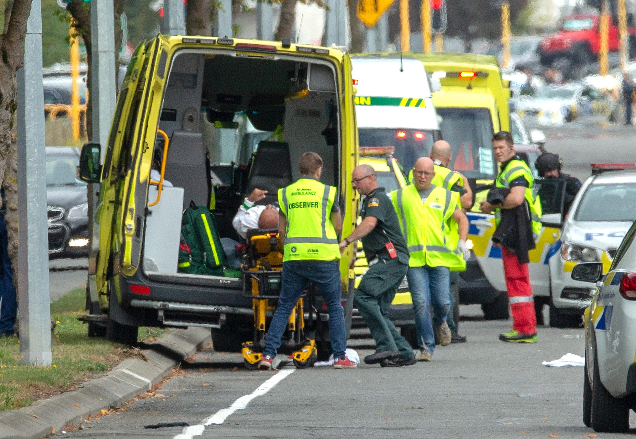 An injured person is loaded into an ambulance following a shooting at the Al Noor mosque in Christchurch, New Zealand, March 15, 2019.