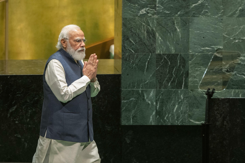 El primer ministro indio, Narendra Modi, a su llegada a la tribuna de la asamblea general de la ONU en Nueva York el 25 de septiembre de 2021.