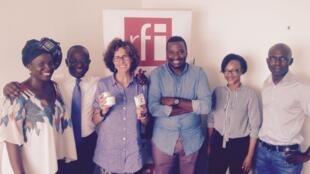Emmanuelle Bastide, Didier Acoutey et Sobel Ngom à Abidjan avec nos trois JPAG : Nicéphore, Sandrine, Karidjata.
