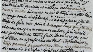 Victor Tardieu, Lettre à son fils Jean Tardieu sur laquelle il essaie de noter les coups de canon qu'il entend au moment où il écrit et la proximité de l'éclat des obus, sous la forme de points plus ou moins gros entre les lignes, 5 juillet 1916.