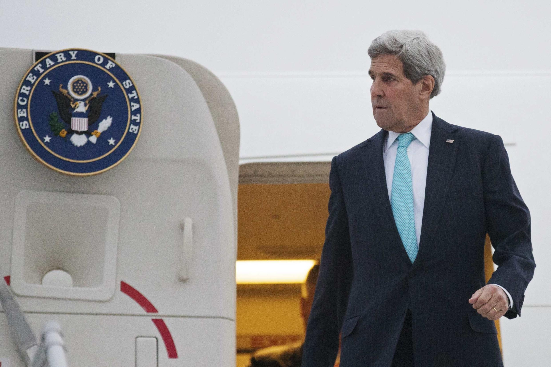 Le secrétaire d'Etat américain John Kerry veut croire qu'un accord de principe avec l'Iran sur le nucléaire est possible. Photo datée du 15 mars 2015, arrivée de John Kerry à Genève.