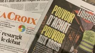 Primeiras páginas dos jornais franceses 06-12-2018
