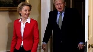 Britain's Prime Minister Boris Johnson, seen with European Commission President Ursula von der Leyen inside 10 Downing Street on Wednesday, now has a clear path to leave the EU after his decisive poll win