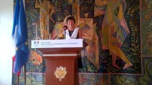Conférence de presse d'Annick Girardin à Dakar, le 12 septembre 2014.
