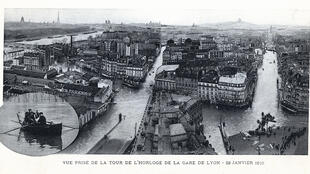 Vista de París inundado en 1910.