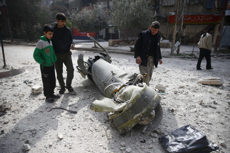Kombora lililorushwa na kuanguka Ghouta mashariki.