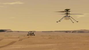 Ilustración distribuida por la NASA el 24 de marzo de 2021 que muestra el vuelo previsto del helicóptero Ingenuity en el planeta Marte