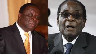 rais wa Zimbabwe na mpinzani wake Robert Gabriel Mugabe na mpinzani wake ambae pia ni waziri mkuu Morgan Tshvangirai