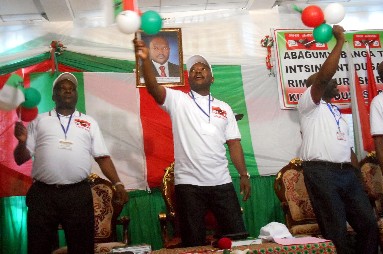 Pierre Nkurunziza, président du Burundi, lors du congrès du CNDD-FDD de ce samedi 25 avril, lors duquel le candidat à la prochaine élection présidentielle au Burundi a été désigné.