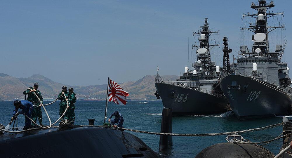 Ảnh minh họa : Hai khu trục hạm Nhật Bản Ariake và Setogiri trong một lần ghế Vịnh Cam Ranh, Việt Nam.