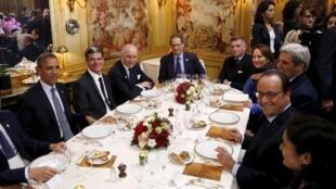 Парадный обед для высоких гостей конференции по климату СОР 21, 30 ноября 2015.