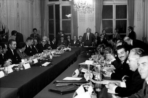 Заседание правительства Жоржа Помпиду (в центре), 27 мая 1968