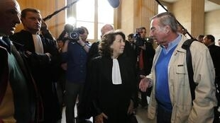 Former minister and lawyer Corinne Lepage with environmental activist Allain Bougrain-Dubourg at the trial
