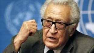 Lakhdar Brahimi, émissaire de l'ONU pour la Syrie, le 24 janvier à Genève.